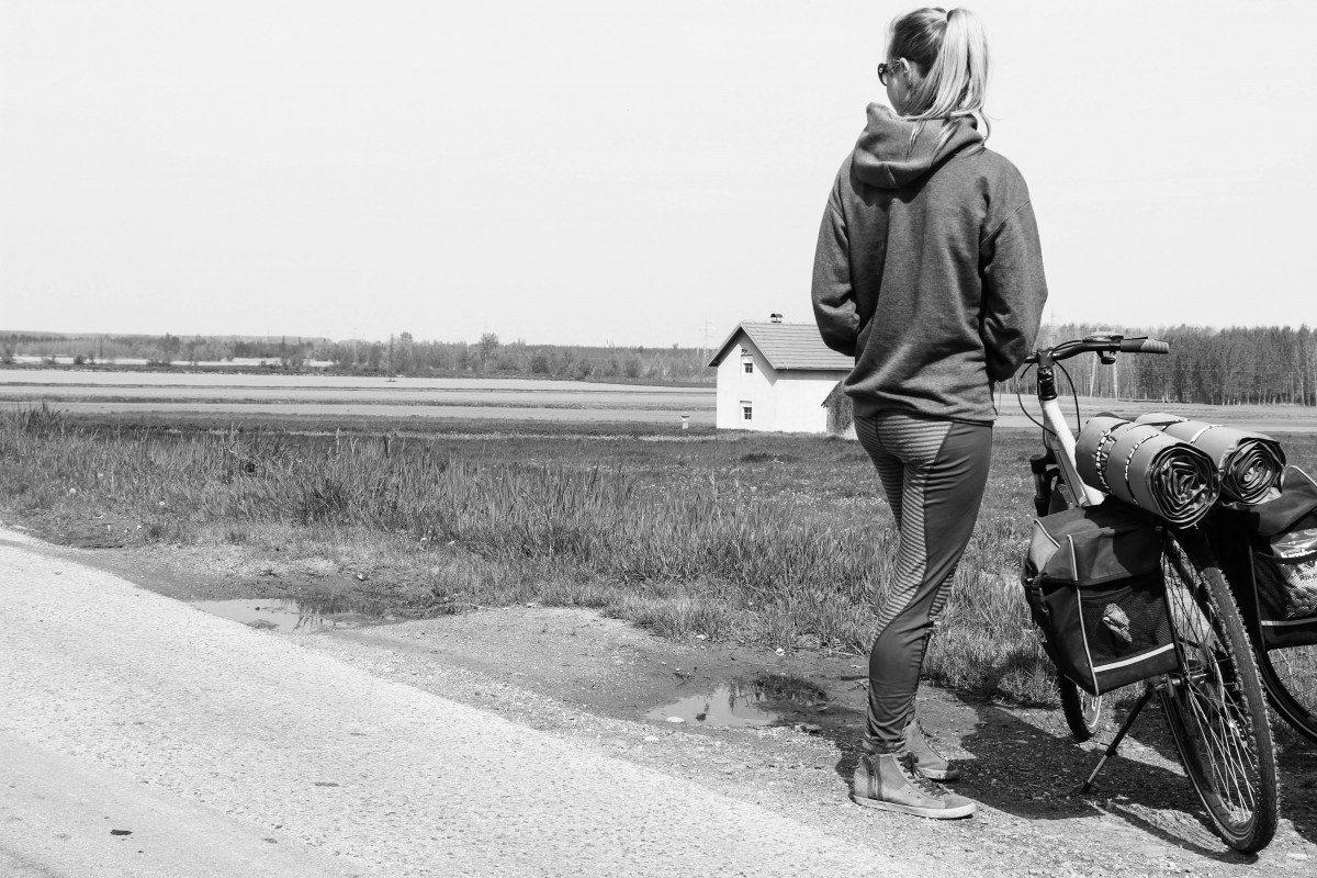 Girl cycling Serbia