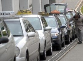 Taxi vehicles lined up at Belgrade Airport. IBikeBelgrade, Photo by: Novosti.rs