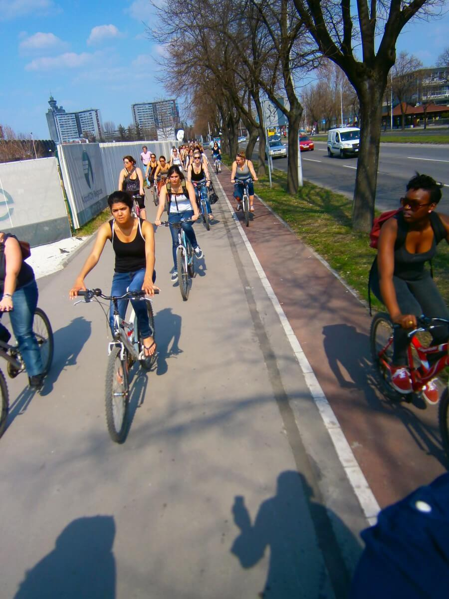 Rotterdam girls biking through Belgrade