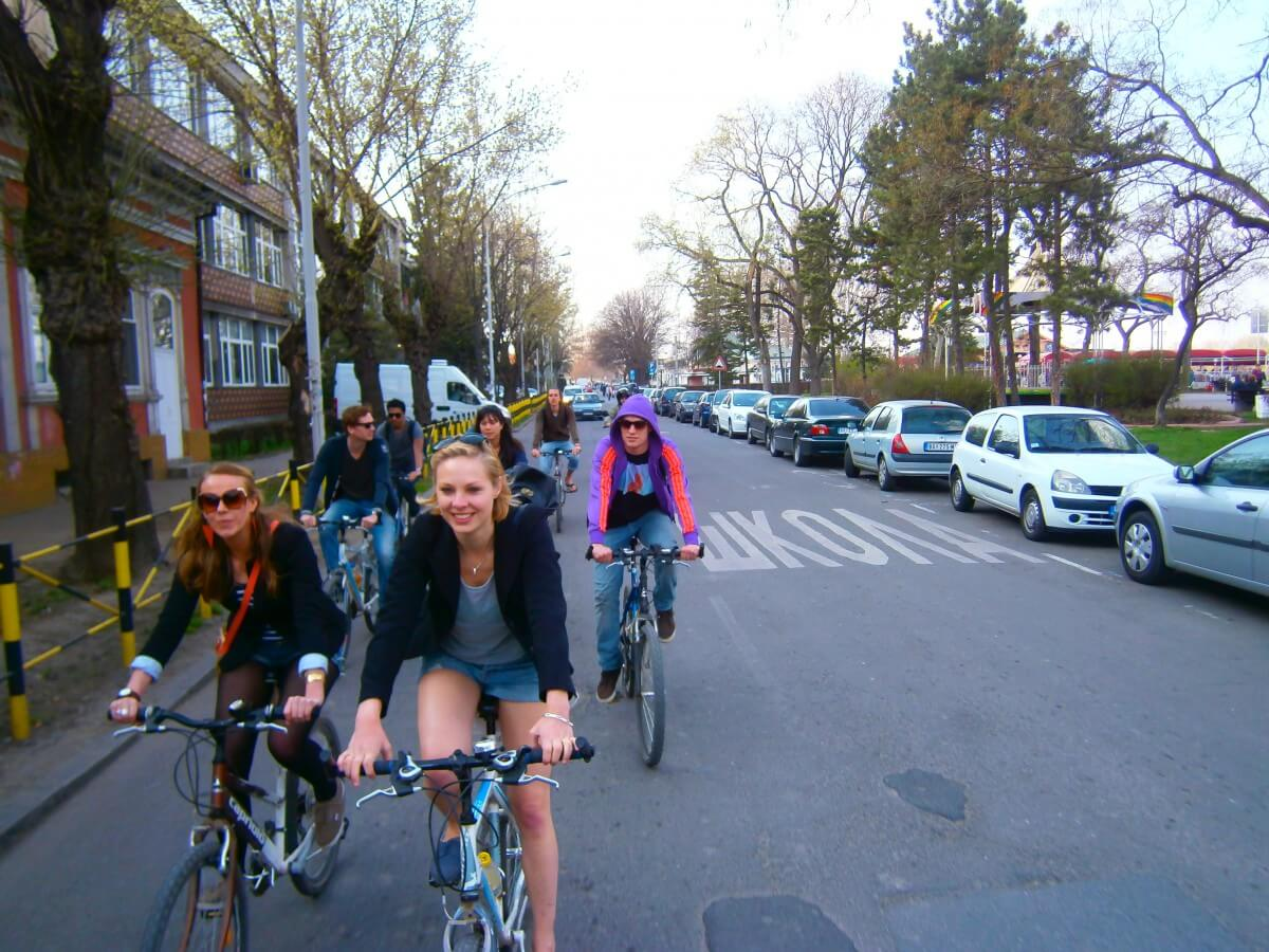 Riding down the streets of Zemun and Belgrade by bike