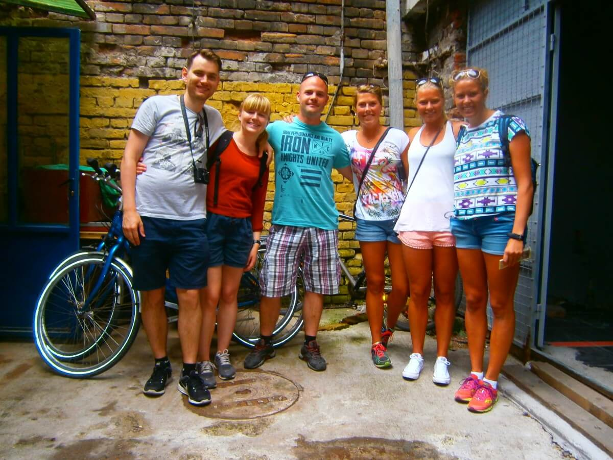 Happy cyclists after a hot tour through Belgrade