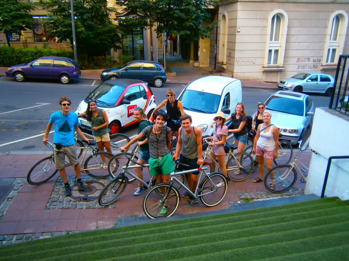 Happy cyclists form all over the world ready to ride with iBikeBelgrade!