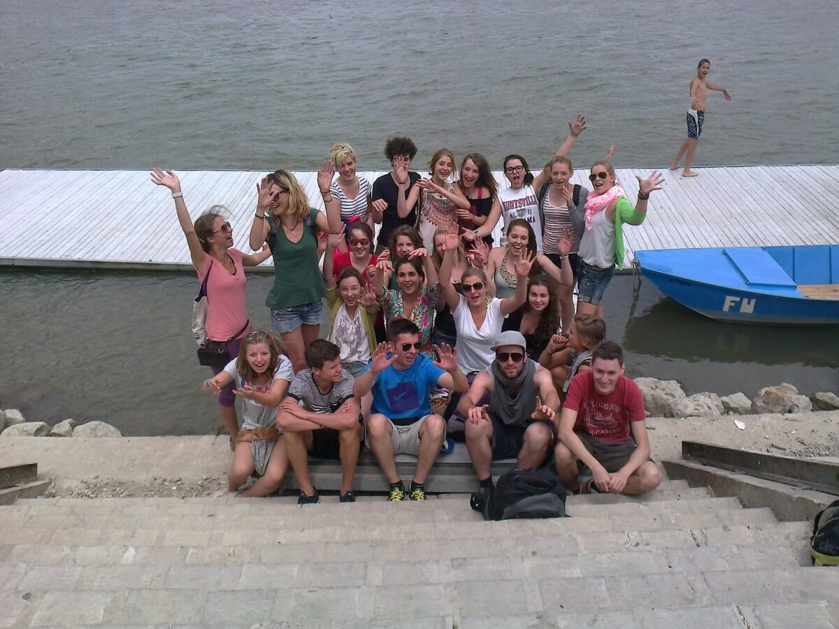 Happy group of cyclists down the Danube in Belgrade