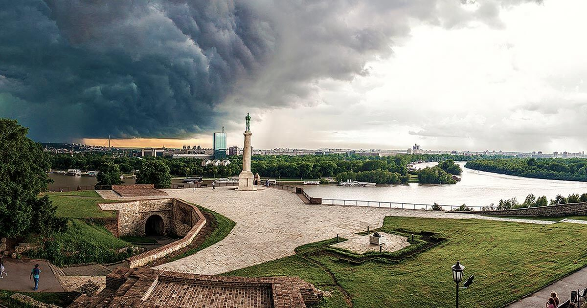 Kalemegdan under a stormy cloud